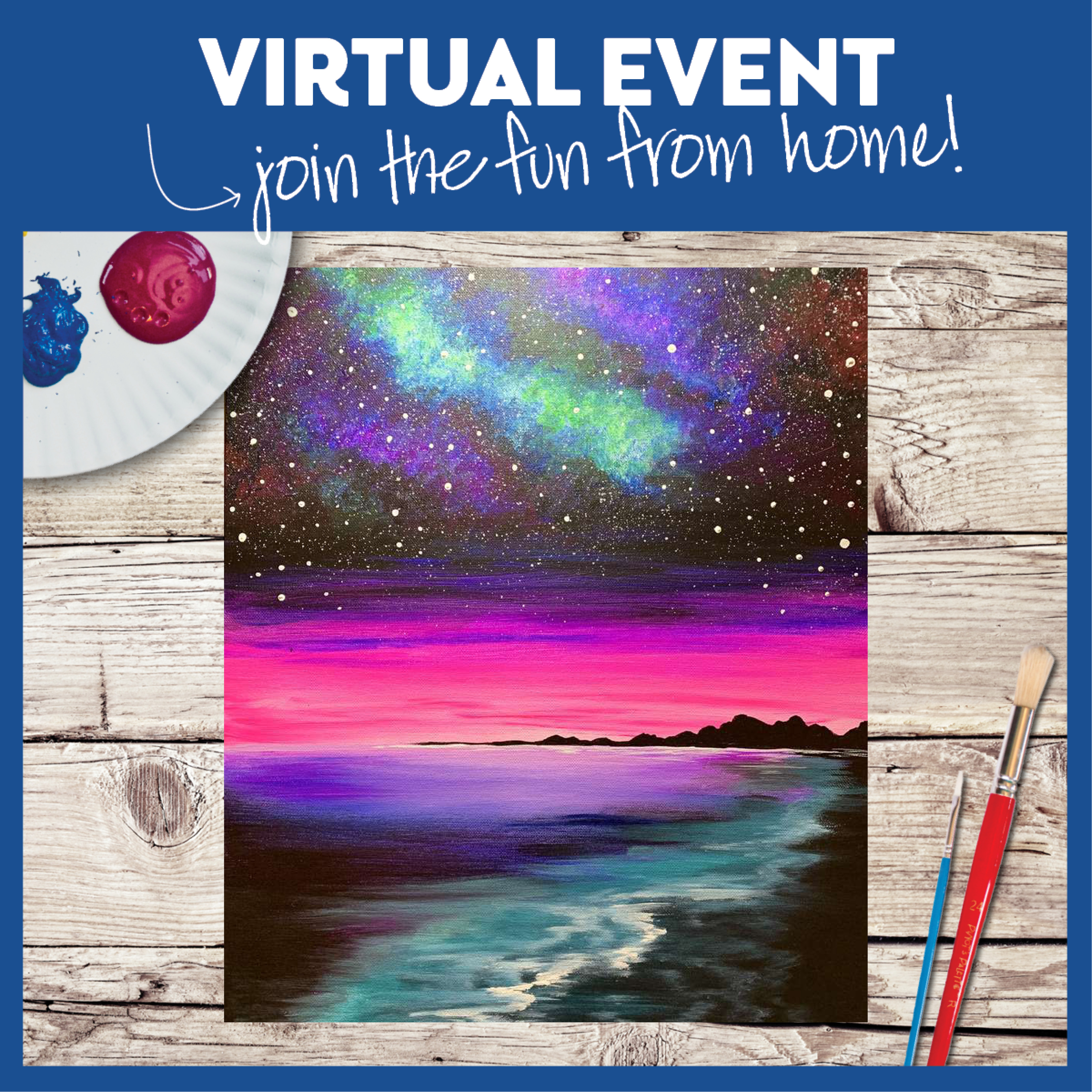 LIVE VIRTUAL CLASS: GALAXY BEACH - WITH ART KIT OR PROVIDE YOUR OWN SUPPLIES