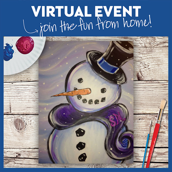 LIVE VIRTUAL CLASS + 7 DAYS ON-DEMAND: MR. SNOWTIME - INCLUDES PAINT FROM HOME ART KIT