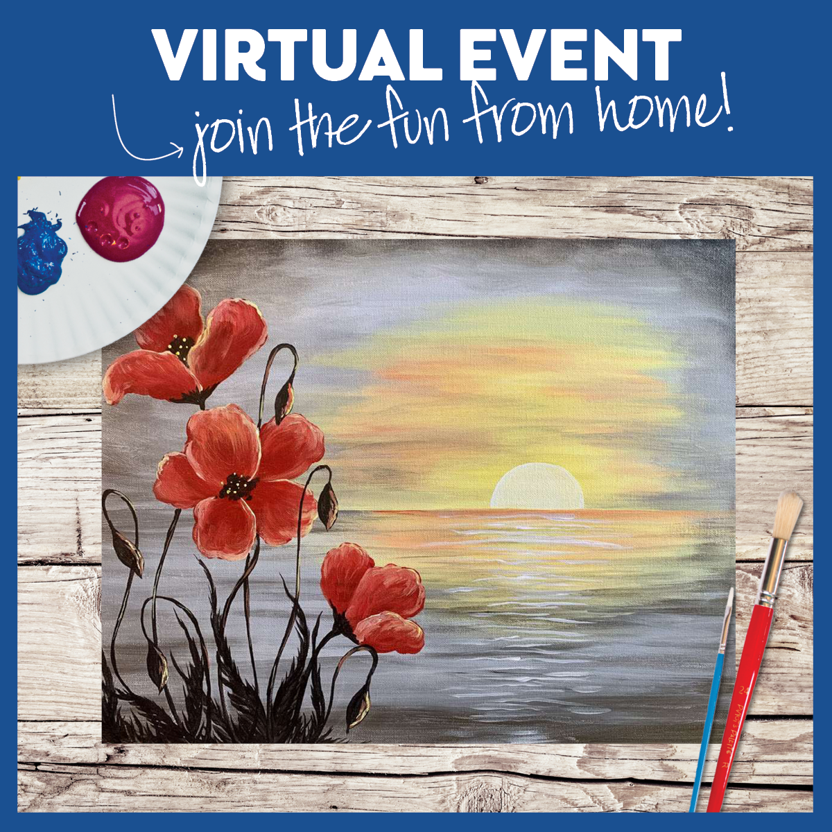 LIVE VIRTUAL CLASS + 7 DAYS ON-DEMAND: PEONIES AT SUNSET - INCLUDES PAINT FROM HOME ART KIT