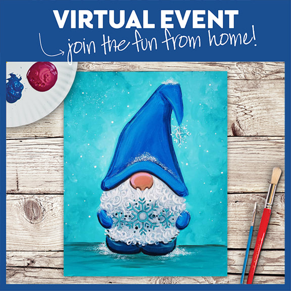 PRE-RECORDED VIRTUAL CLASS + 7 DAYS ON-DEMAND: SNOWFLAKE GNOME - INCLUDES PAINT FROM HOME ART KIT