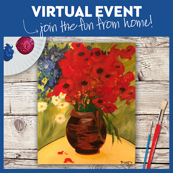 LIVE VIRTUAL CLASS + 7 DAYS ON-DEMAND: VAN GOGH'S DAISIES AND POPPIES - INCLUDES PAINT FROM HOME ART KIT