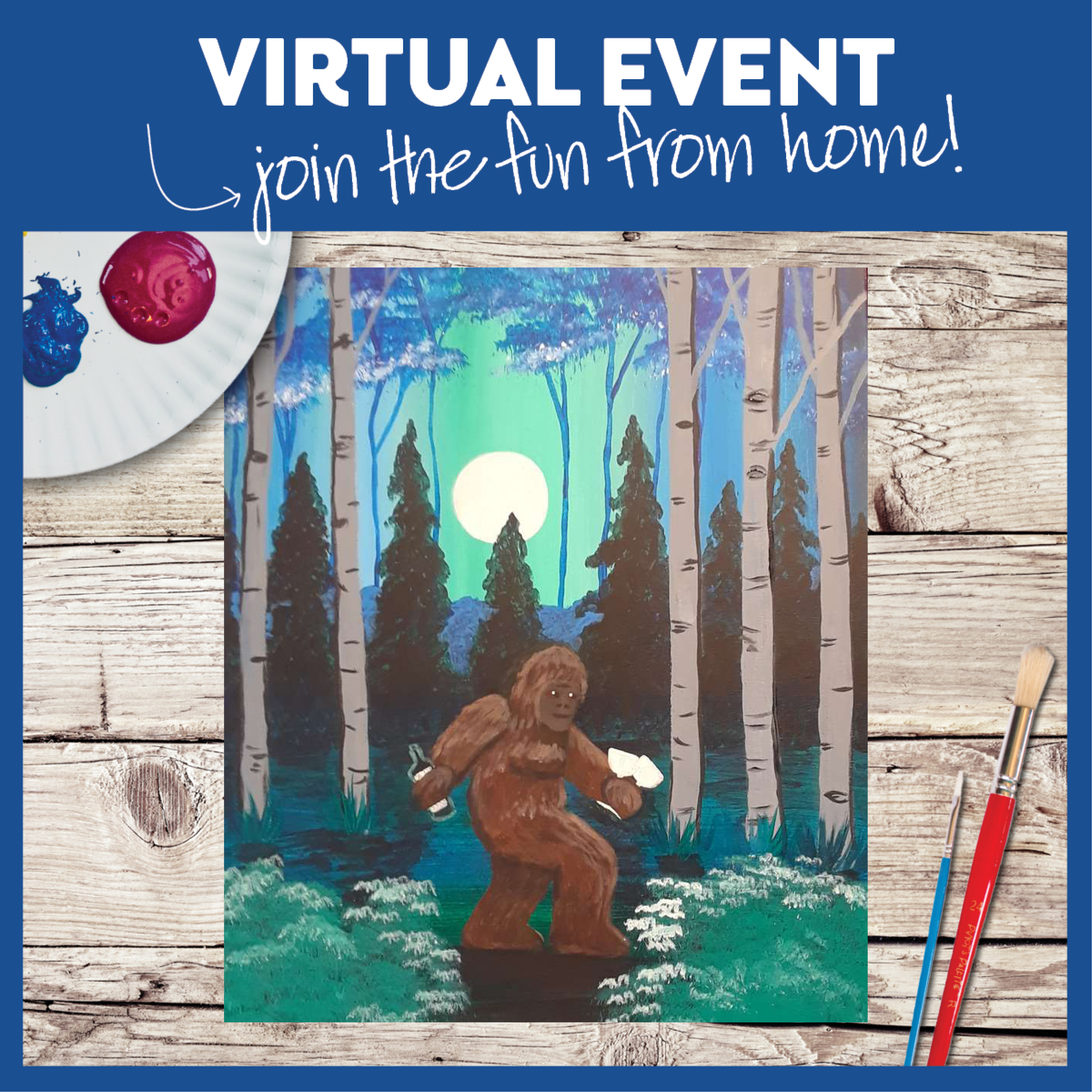 LIVE VIRTUAL CLASS: WINO SASQUATCH - WITH ART KIT OR PROVIDE YOUR OWN SUPPLIES
